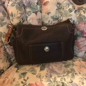 Brown and Pink Leather Coach Handbag